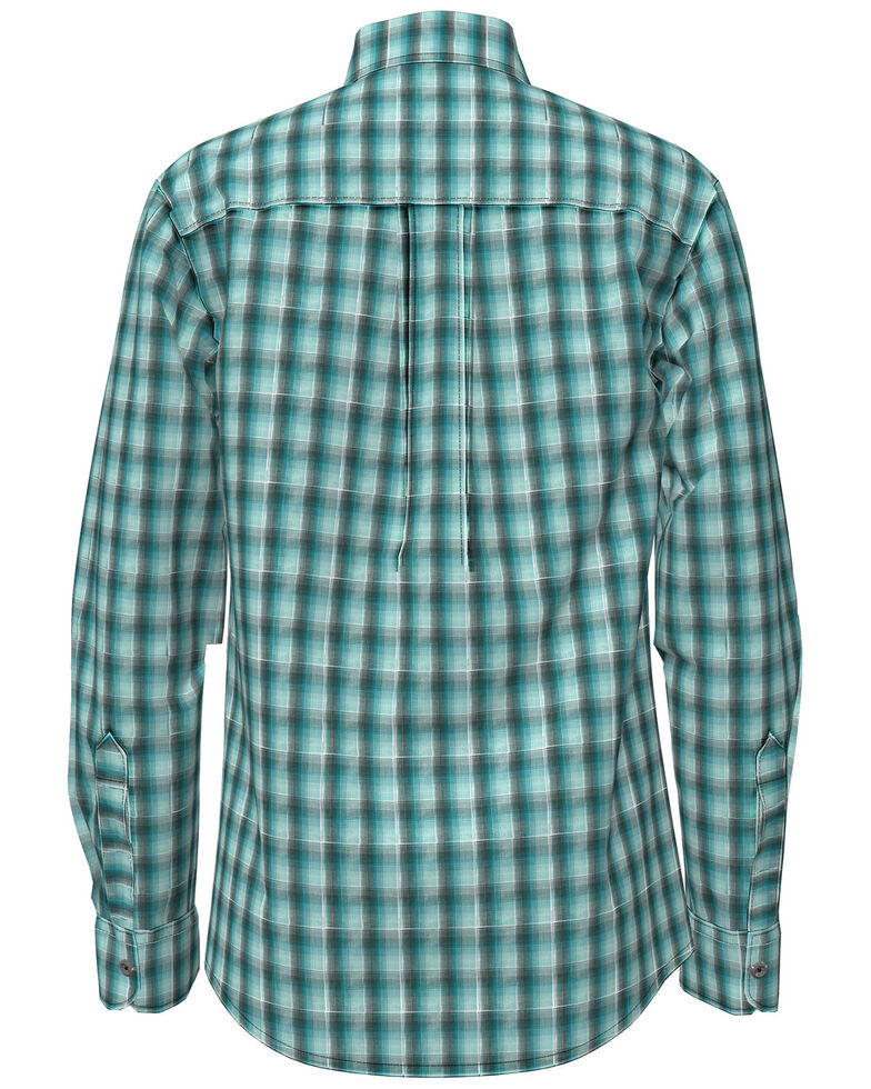 Wrangler Boys' Turquoise Raita Plaid Long Sleeve Button-Down Western Shirt , Turquoise, hi-res