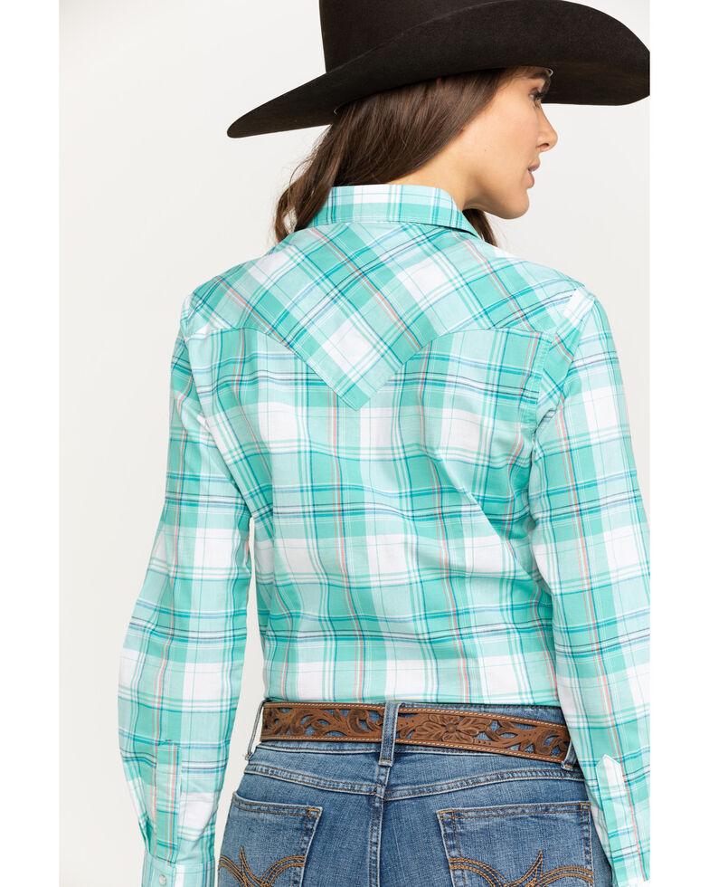 Wrangler Women's Turquoise & White Plaid Long Sleeve Western Shirt, Turquoise, hi-res