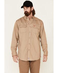 Ariat Flame Resistant Khaki Solid Twill Work Shirt, Khaki, hi-res