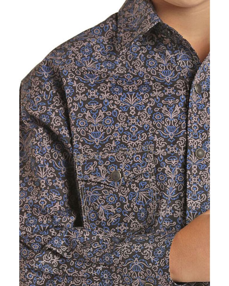 Rock & Roll Denim Boys' Navy Floral Print Long Sleeve Western Shirt , Navy, hi-res