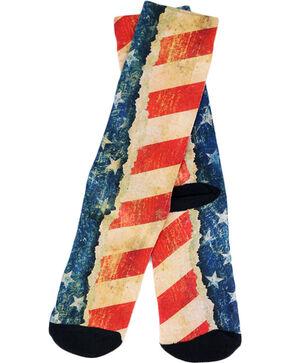 Game Sport Men's Distressed American Flag Crew Socks, Red/white/blue, hi-res