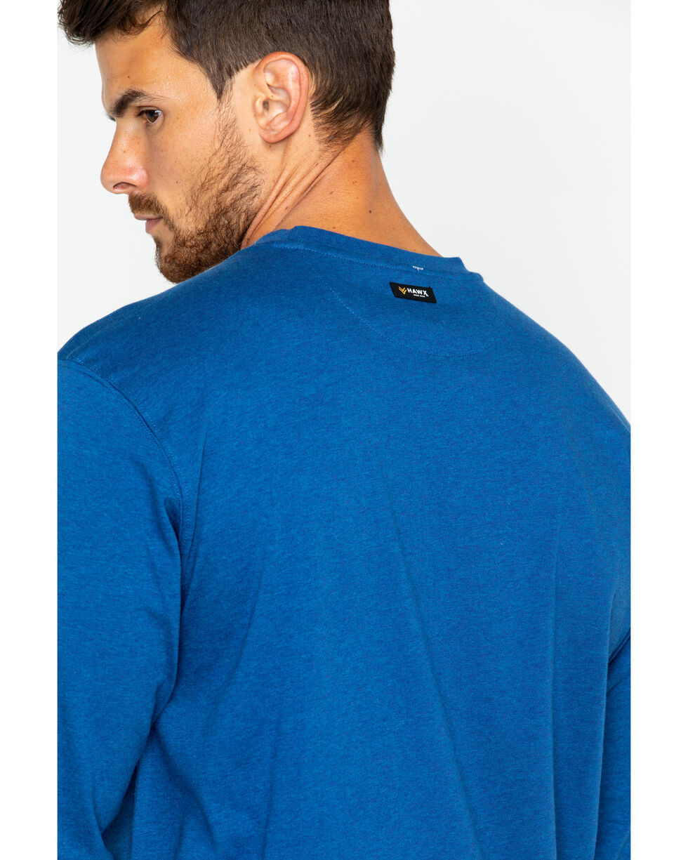 Hawx® Men's Logo Long Sleeve Crew Work Tee , Heather Blue, hi-res