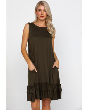 Panhandle Women's White Label Sleeveless Knit Swing Dress , Olive, hi-res