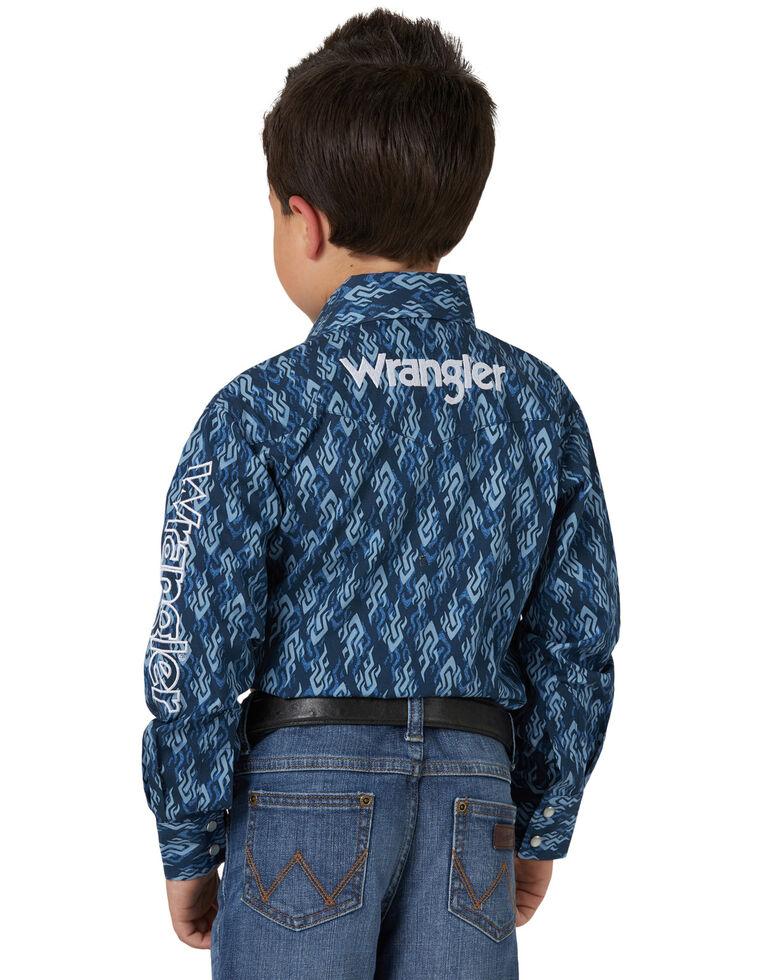 Wrangler Boys' Blue Aztec Print Logo Long Sleeve Western Shirt , Blue, hi-res
