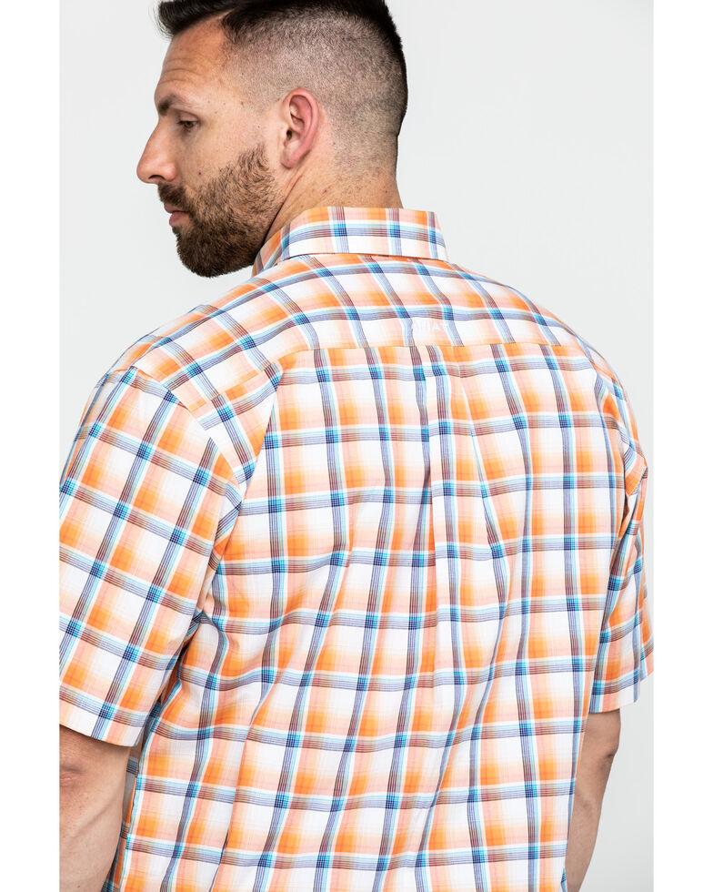 Ariat Men's Navajo Large Plaid Short Sleeve Western Shirt , Orange, hi-res