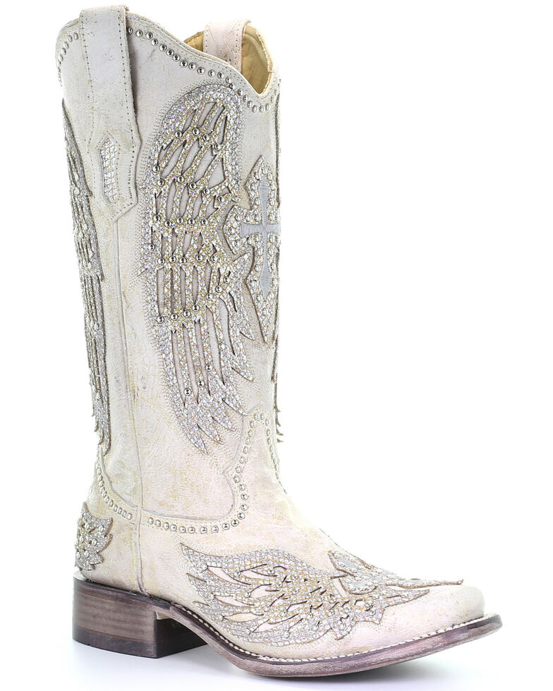 Corral Women's White Cross &Amp; Wings Western Boots   Square Toe by Corral