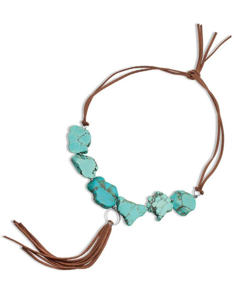Montana Silversmiths Women's Chunky Beads & Leather Necklace, Turquoise, hi-res