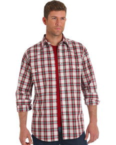Wrangler Men's Red Plaid Wrinkle-Resistant Long Sleeve Western Shirt , Red, hi-res