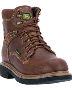 """John Deere Men's 6"""" Waterproof Lace Up Boots - Steel toe , Brown, hi-res"""