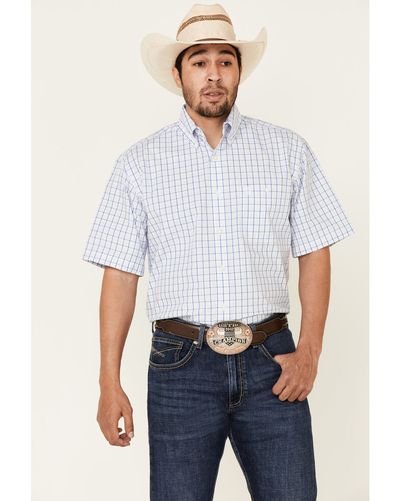 George Strait By Wrangler Men's White Small Plaid Short Sleeve Button-Down Western Shirt - Big , White, hi-res