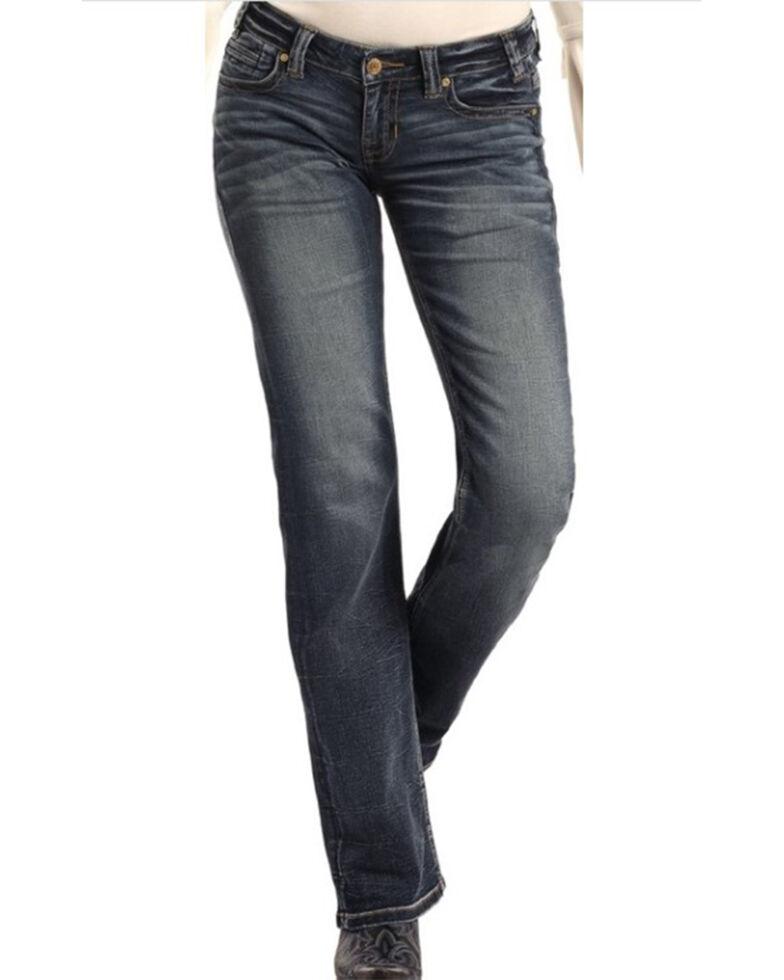 Rock & Roll Denim Women's Dark Vintage Boyfriend Jeans, Blue, hi-res