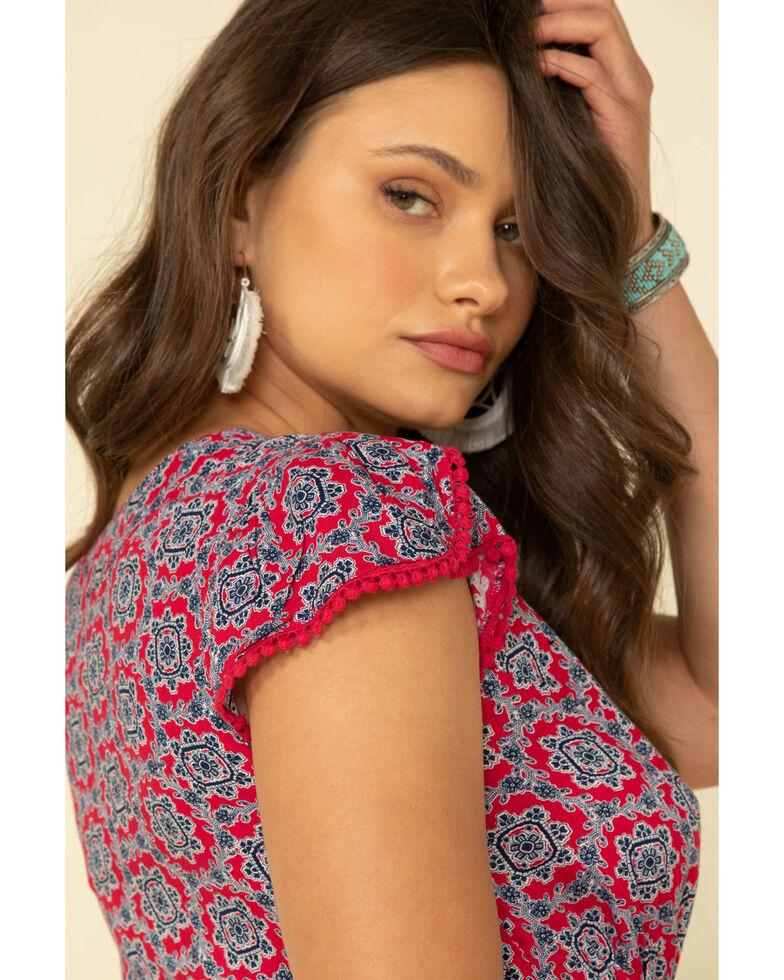 Wrangler Women's Red Tile Print Short Sleeve Dress, Red, hi-res
