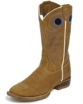Justin Boys' Norman Western Boots - Square Toe, Brown, hi-res