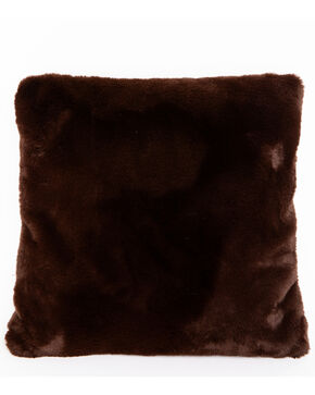 BB Ranch Brown Faux Fur Pillow, Brown, hi-res