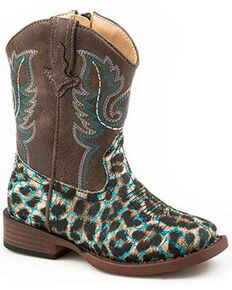 Roper Toddler Girls' Leopard Glitter Western Boots - Square Toe, Blue, hi-res