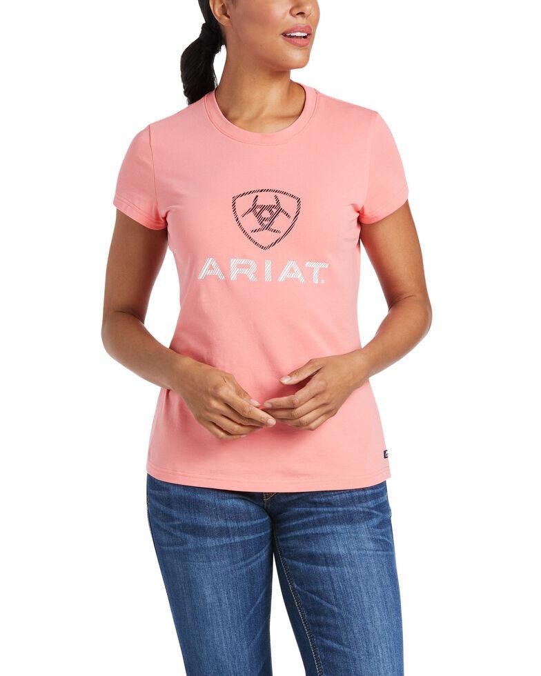 Ariat Women's Orange Glaze HD Logo Short Sleeve Tee , Orange, hi-res