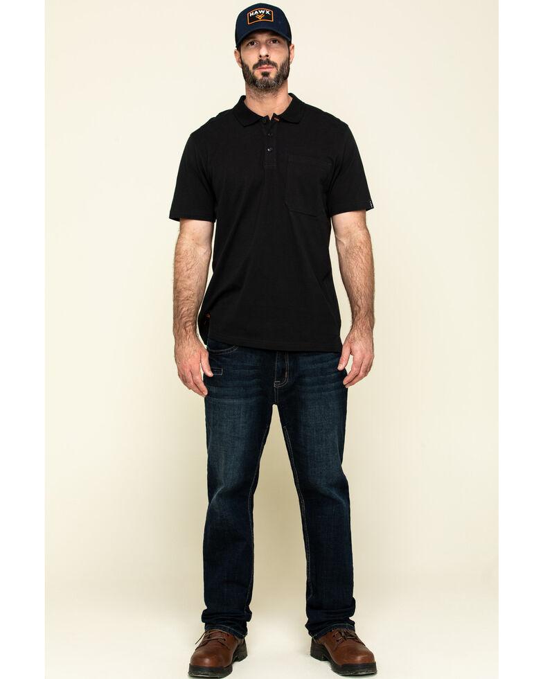 Hawx Men's Black Miller Pique Short Sleeve Work Polo Shirt , Black, hi-res