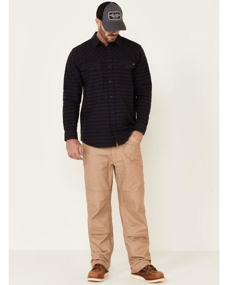 Hawx Men's Navy Newport Herringbone Stretch Check Long Sleeve Work Shirt , Navy, hi-res