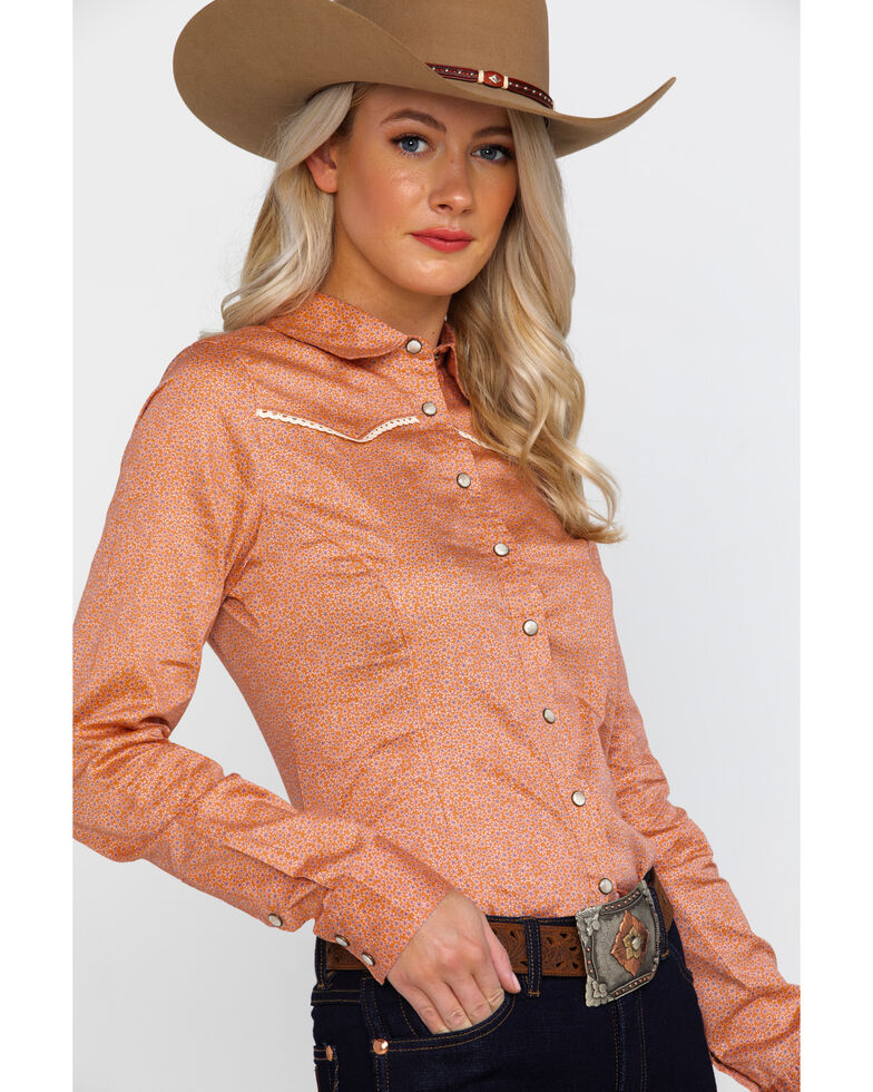 Shyanne Life Women's Ditsy Woven Core Long Sleeve Western Shirt , Coral, hi-res