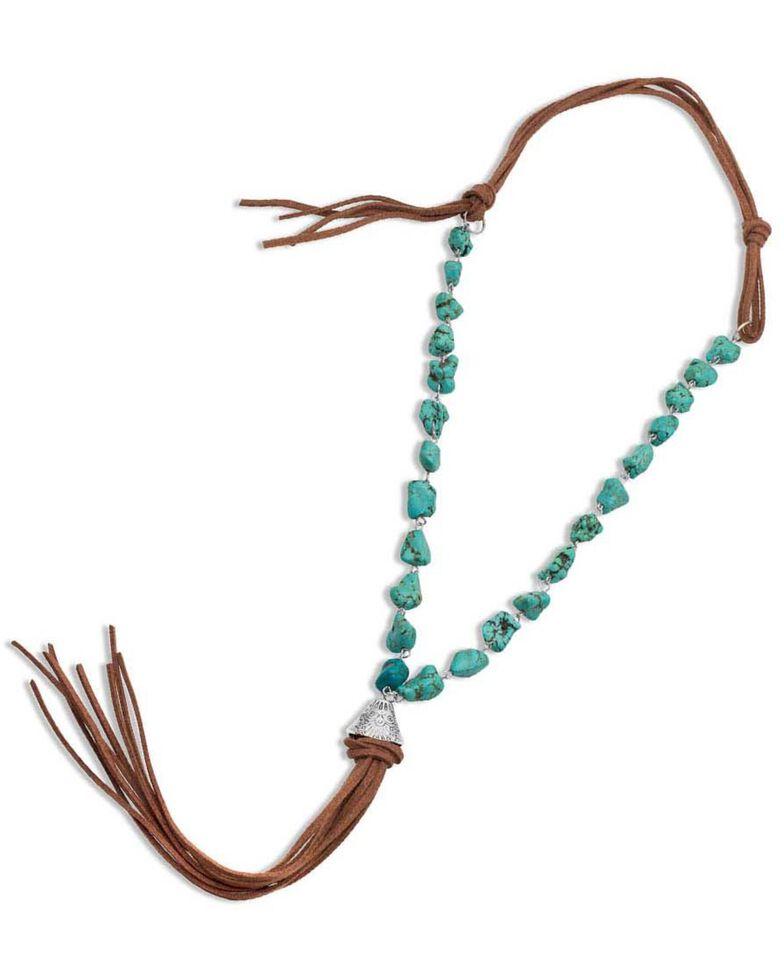 Montana Silversmiths Women's Relaxed Bead & Leather Necklace, Turquoise, hi-res