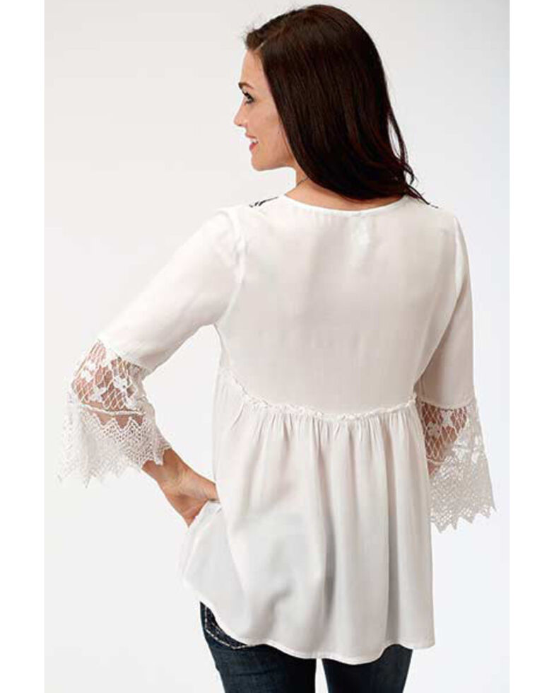 Studio West Women's White Embroidered Peasant Blouse, White, hi-res