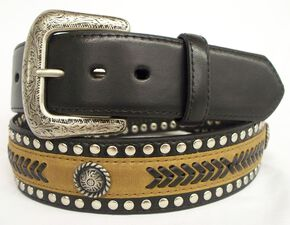 GD Concho Leather Belt, Brown, hi-res