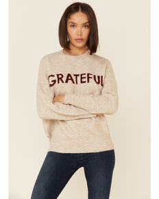 Coco + Jameson Women's Oatmeal Grateful Graphic Pullover Sweater, Heather Grey, hi-res