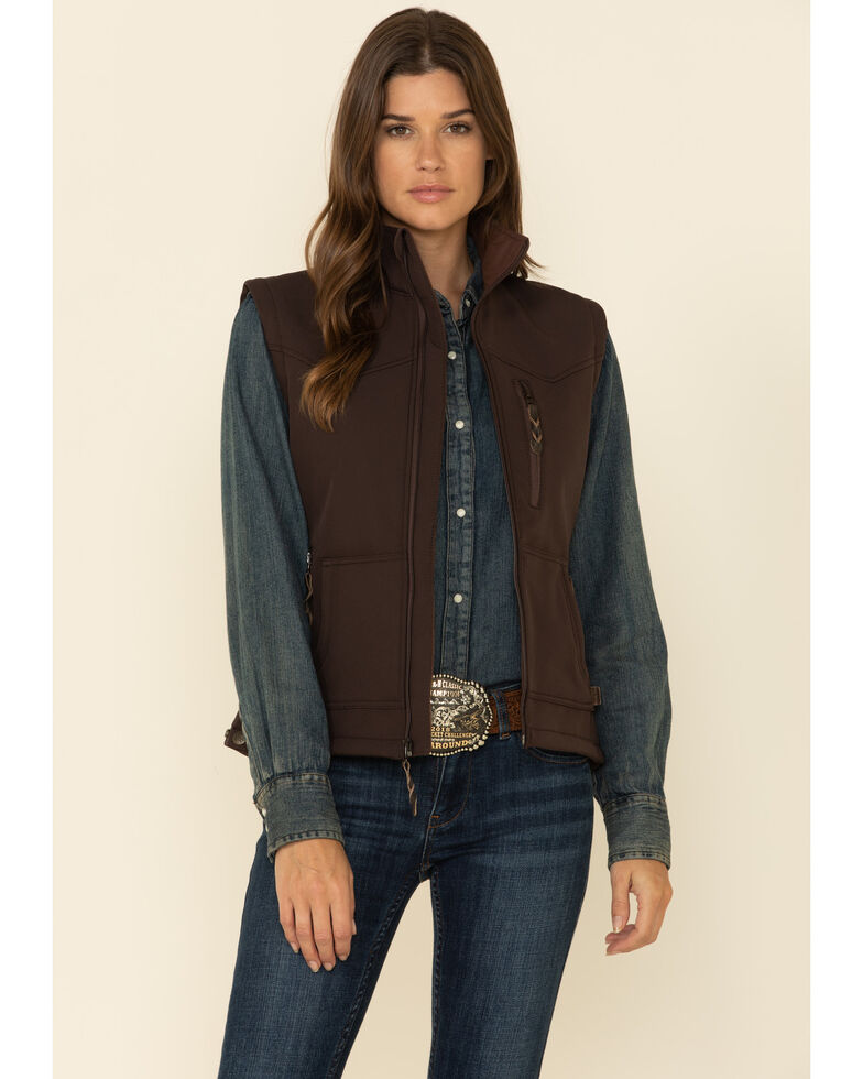 STS Ranchwear Women's Barrier Zip Vest , Brown, hi-res