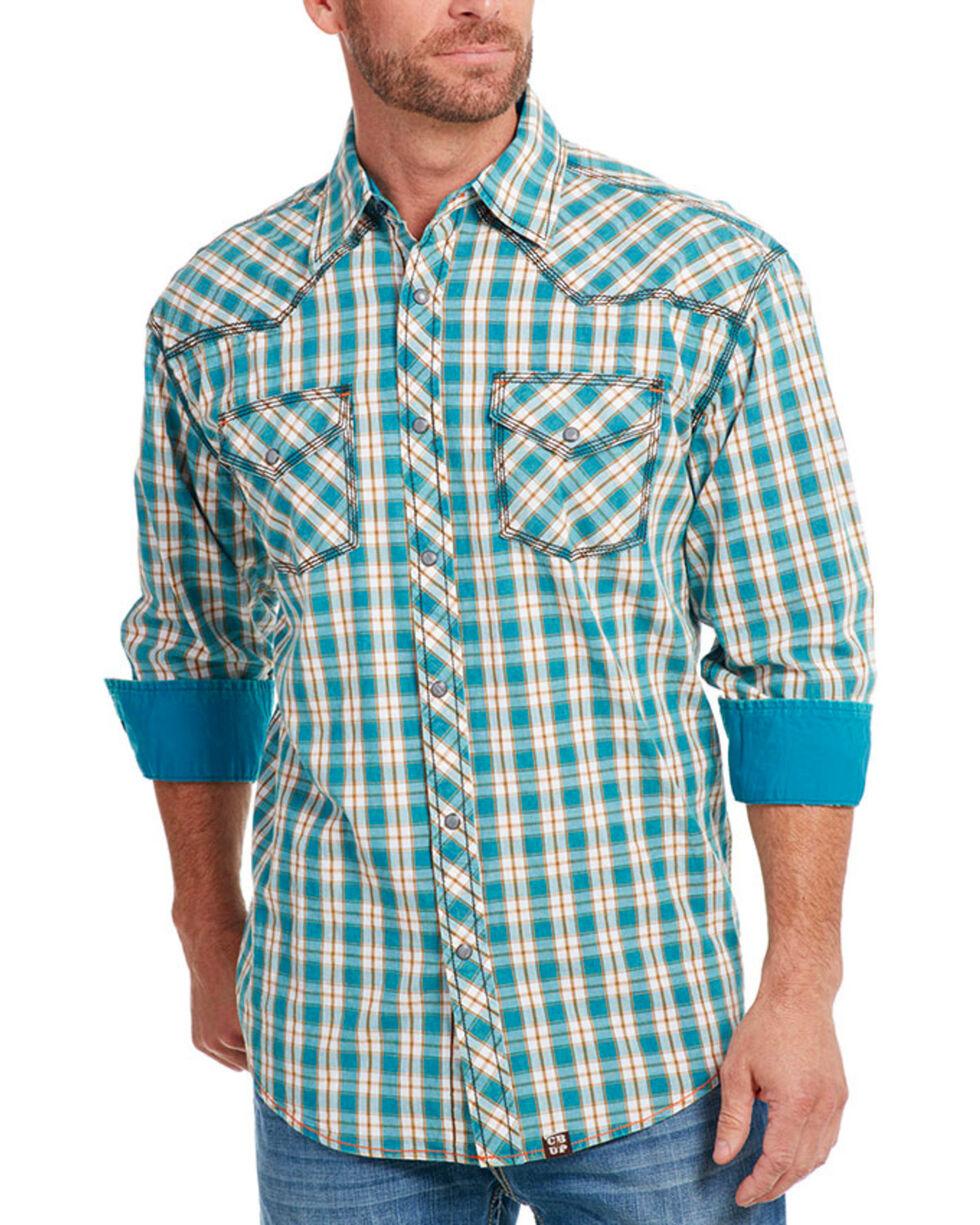 Cowboy Up Men's Plaid Long Sleeve Western Shirt, Teal, hi-res