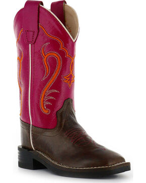 Shyanne Youth Girls' Western Boots - Square Toe , Brown/pink, hi-res