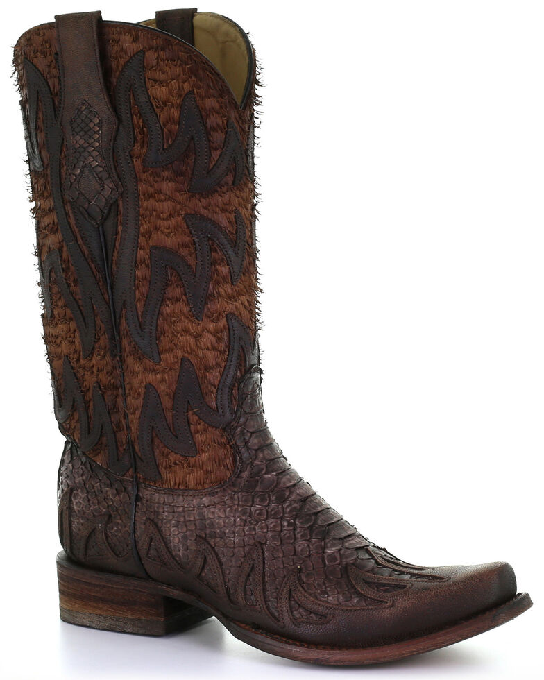 Corral Men's Brown Python Overlay Western Boots - Square Toe, Brown, hi-res