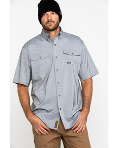 Ariat Men's Grey Rebar Made Tough Durastretch Vent Short Sleeve Work Shirt , Heather Grey, hi-res