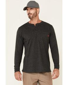 Hawx Men's Dark Grey Pocket Henley Original Long Sleeve Work T-Shirt , Dark Grey, hi-res