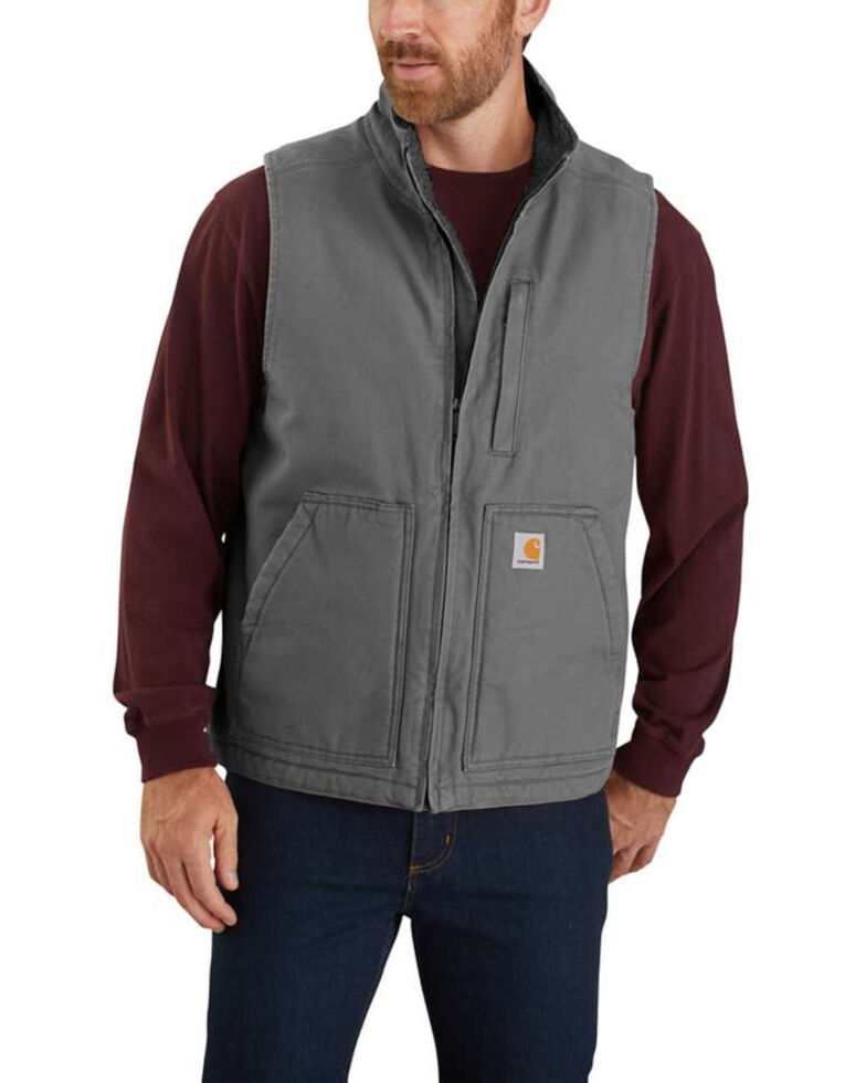 Carhartt Men's Gravel Washed Duck Sherpa Lined Mock Neck Work Vest - Tall , Grey, hi-res
