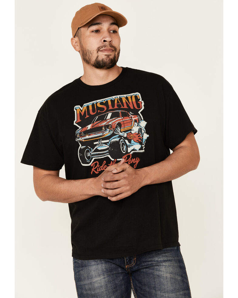 Junk Food Clothing Men's Mustang Ride The Pony Graphic T-Shirt , Black, hi-res