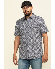 Moonshine Spirit Men's Honest Abe Aztec Print Short Sleeve Western Shirt , Maroon, hi-res