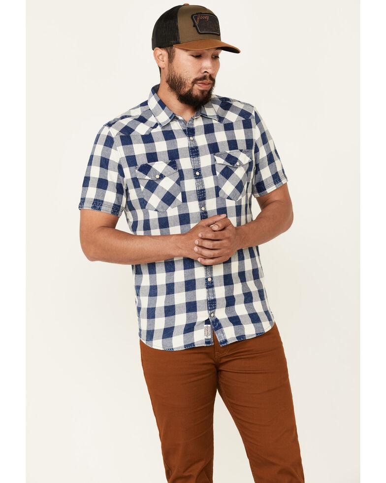 Flag & Anthem Men's Mclennan Vintage Short Sleeve Snap Western Shirt , Blue, hi-res