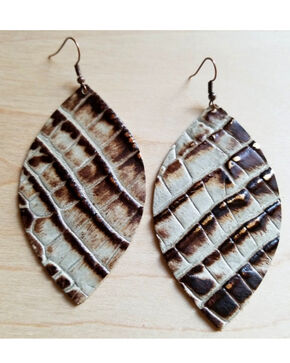 Jewelry Junkie Women's Brown & Cream Gator Print Oval Leather Earrings, Multi, hi-res