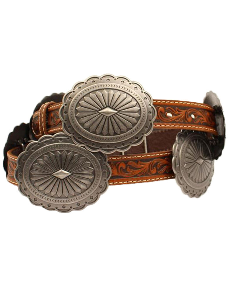 Ariat Women's Brown Tooled Oval Concho Western Belt, Tan, hi-res