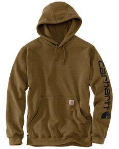 Carhartt Men's Mid Weight Hooded Logo Work Sweatshirt - Big , Brown, hi-res