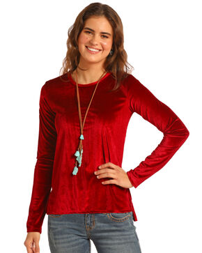 Rock & Roll Cowgirl Women's Velvet Top, Red, hi-res