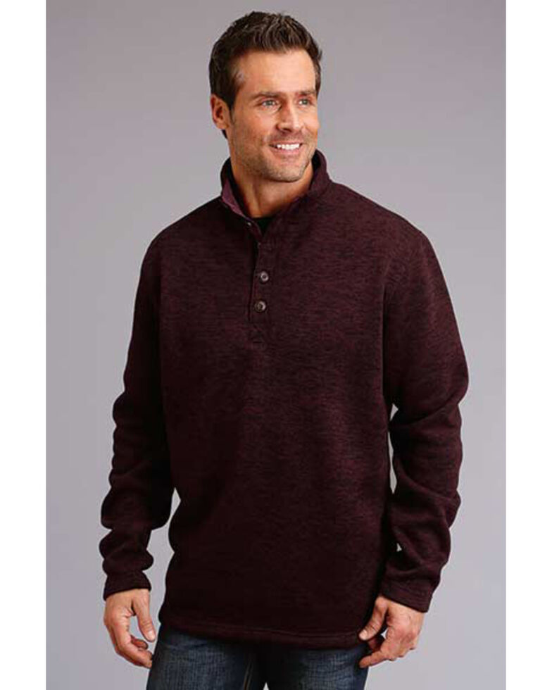 Stetson Men's Wine Bonded Sweater Knit 1/4 Button Pullover , Red, hi-res