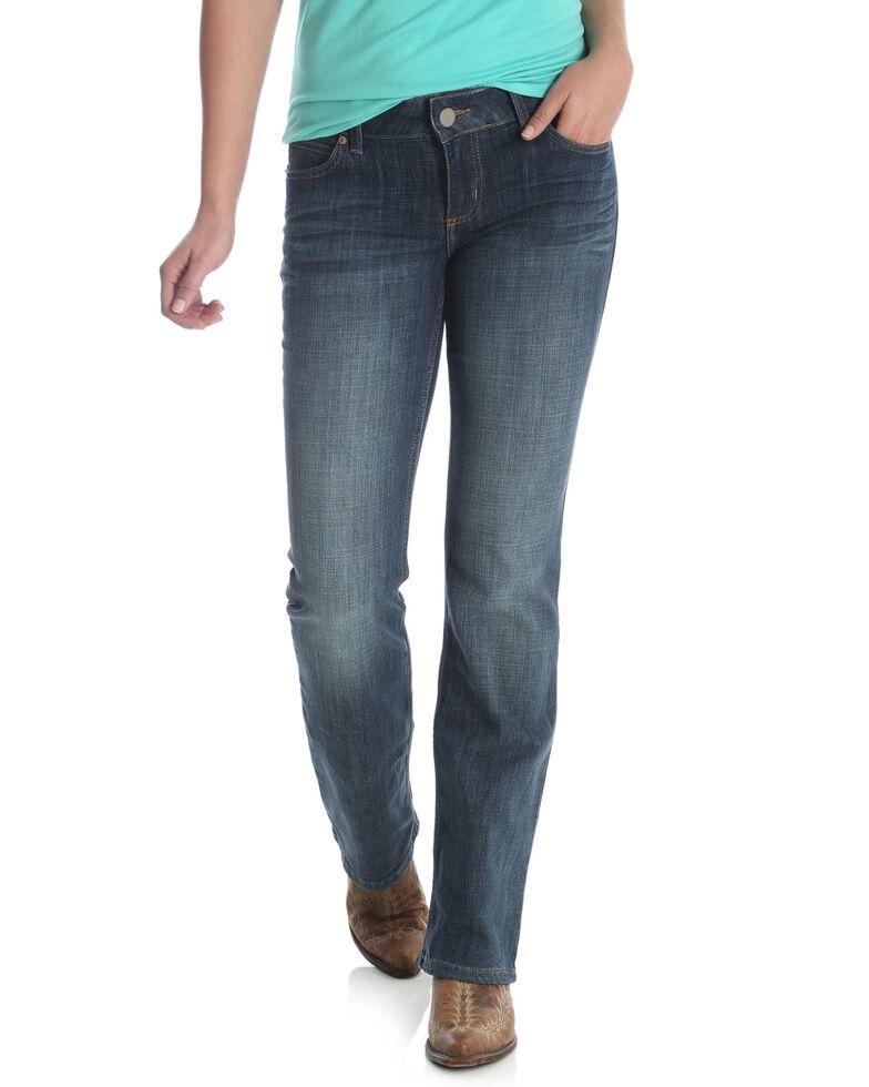 Wrangler Women's Medium Blue Mid-Rise Bootcut Jeans - Plus, Blue, hi-res