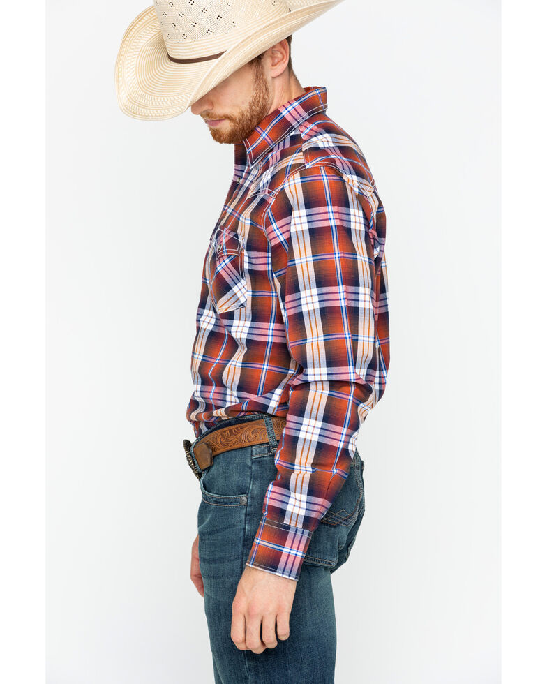 Wrangler Retro Men's Rust Plaid Long Sleeve Western Shirt , Rust Copper, hi-res