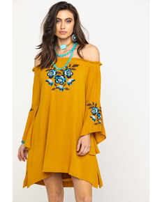 Shyanne Women's Mustard Floral Embroidered Off Shoulder Bell Sleeve Dress, Dark Yellow, hi-res