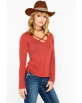 Shyanne Women's Cross Front Knit Top, Rust Copper, hi-res