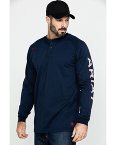 Ariat Men's FR Liberty Logo Long Sleeve Work Shirt - Tall , Navy, hi-res