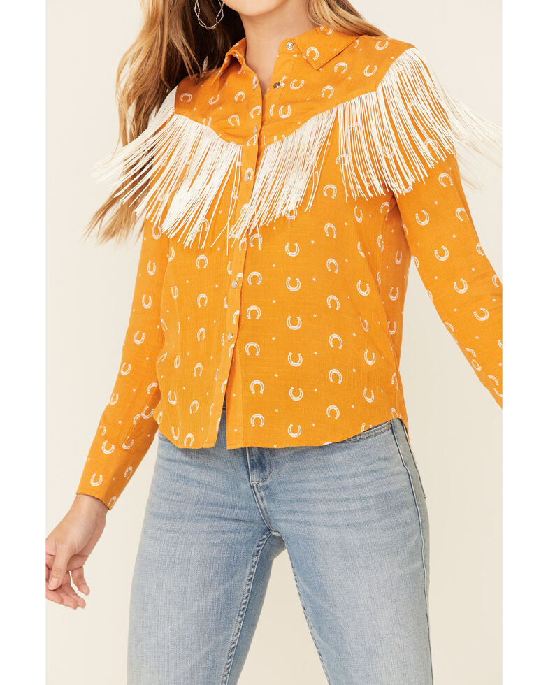Idyllwind Women's Lucky Western Snap Long Sleeve Top , Gold, hi-res