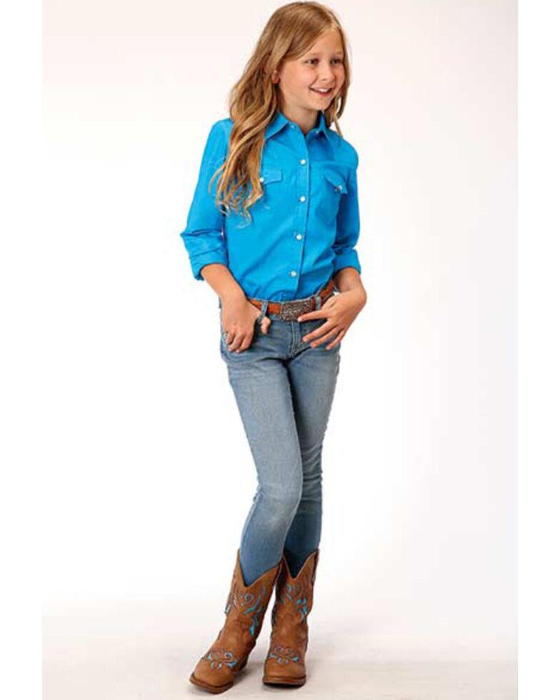 Amarillo Girls' Blue Solid Snap Long Sleeve Western Shirt, Blue, hi-res