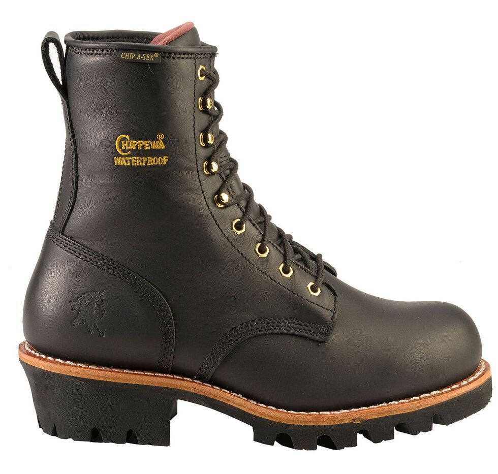 "Chippewa Waterproof & Insulated 8"" Logger Boots - Round Toe, Black, hi-res"